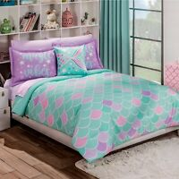 MERMAID JUNIORS GIRLS REVERSIBLE COMFORTER SET 3 PCS TWIN SIZE