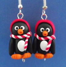 Divertido Hecho a Mano Fimo pingüino pendientes Red Hat Lindo Regalo Polo Sur Animal