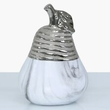 White Marble & Silver Textured Pear Decoration Statement Piece Fruit Ornament (2