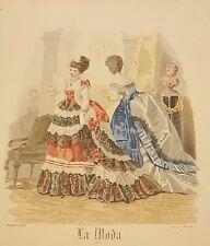 Spanish Fashion - LA MODA Del Correo De Ultramar - Two (2) Ladies in Parlor 1872