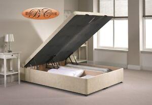 Divan Ottoman End Lift Storage Bed Single 4'6 Double 5ft King Size Chenille