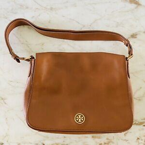 TORY BURCH Solid Brown Leather Shoulder Bag Gold Logo