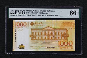 2017 Macau China-Banco da China 1000 Patacas Pick#113c PMG 66 EPQ Gem UNC