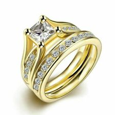 Couple 18K Gold Plated Stainless Wedding Steel Ring Engagement Rings Set Jewelly