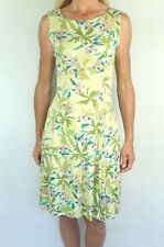 NORM THOMPSON PM Silk Green Tropical Floral Sleeveless Stretchy Sheath Dress PL