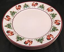 4 Enesco Country Gate Chicken Rooster Hen Dinner Plates