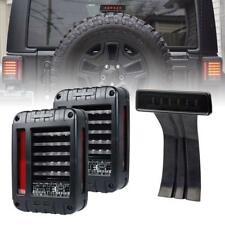 For Jeep Wrangler JK LED Rear Tail Light + Smoke Lens Third High Brake Light Set
