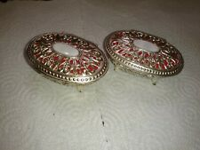 2 Pill Boxes Silver Tone Cases