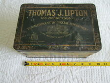 Thomas J Lipton tea advertising tin with Ceylon plantation graphics 'as-found'