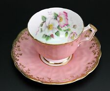 AYNSLEY PINK APPLE BLOSSOMS FLOWERS ROSE TEXTURED CUP AND SAUCER