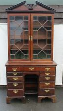 Georgian 1780 Mahogany Kneehole Desk with Astragal Glazed Top on Bracket Feet.