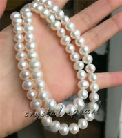 """36"""" Natural pearl necklace AAA 9-10 mm white pearl Necklace 18"""" 20"""" 14k clasp"""