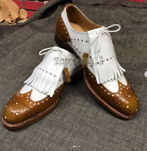 Handmade Men's Leather Oxfords Wingtip New Two Tone Brown White Formal Shoes-49