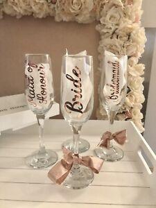 Wedding Vinyl Rose Gold Sticker Champagne Flute Bridesmaid Glass Bride Custom