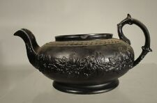 Antique English Jackfield Blackware Teapot Molded Floral Design England