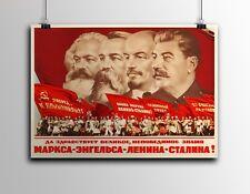 "Soviet Russian Propaganda Poster Print LENIN, STALIN, MARX, ENGELS 18x24"" #ON01"