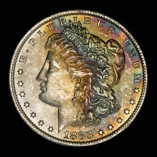 1883-O Morgan Silver Dollar - Original Rainbow Watercolor Toning - Lot#Z522