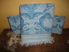 VINTAGE JC PENNEY BLUE ON BLUE GATE SCROLL (3PC) WASHCLOTH & BATH TOWEL SET