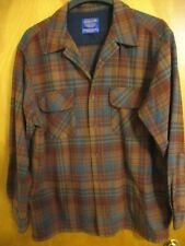 Mens Pendleton 100% Wool Board Shirt Exc Cond Brown Blue Turquoise Plaid Large L
