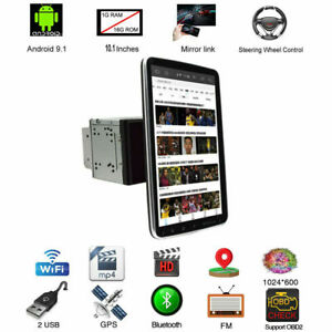 Rotatable 2Din 10.1'' Android 9.1 Car Stereo Radio Gps Wifi Touch Screen Player
