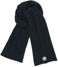 Sciarpa Moncler Authentic 100%Men's Solid Navy Blue Ribbed Knit Scarf