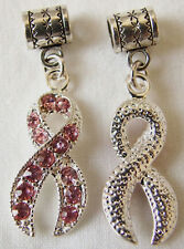 Rhinestone rosa Breast Cancer Awareness Cinta encanto para europeo encanto pulsera