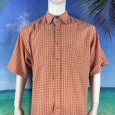 Bugatchi Uomo Checkered Plaid Peach Men's XL Short Sleeve Casual Shirt Blemished