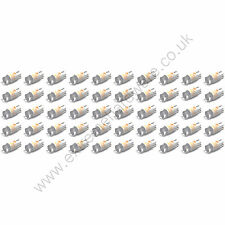 50 x Yellow 5v 10mm T10 Wedge Base LED Bulbs for Arcade Push Buttons - MAME