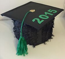 2015 2018 Graduation Cap Pinata Black and Green, Customize Year and Color FREE