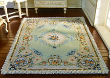Miniature Dollhouse Beautiful Light Blue Small Flowers Nice Lace 1/12 Rug