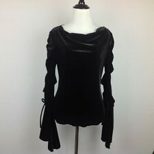 Cool & Chic Top Womens Small Stretch Velvet Velour Boho Black