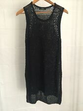 PIPER Navy Blue Knitted Sleeveless Tunic Vest Top Hi Lo Dress Size 12 AA4