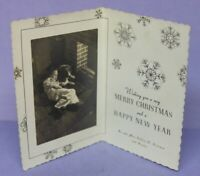 🎅 Vintage 1941 Christmas Card w Photo of Sleeping Child with Dog near Fireplace