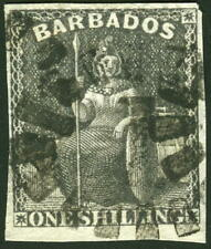 Barbados 1858 1s Britannia  faulty Un-watermarked SG# 12a used £75.00 $98.00