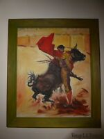 Vintage Spanish Bullfighter Oil On Canvas Picture Painting Signed R. Rivera
