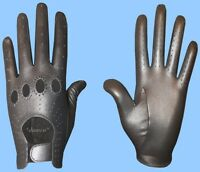 NEW MENS size 9 METALLIC PEWTER GENUINE KID LEATHER DRIVING GLOVES