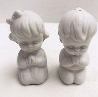 Praying Kneeling Children Boy & Girl Bedtime Prayers Salt Pepper Shakers