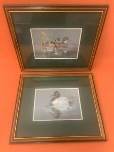 """""""Duck"""" Matted Print Lot in Wood Frames 94 93 Signed by Royann Baum Art 18"""" X 15"""""""