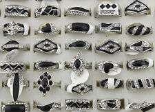 Job Mixed Lots 30pcs Rhinestone&Enamel Wonderful Black Rings Jewelry Lots