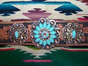 OOAK~135 Western Cowgirl Tooled Leather Turquoise Swarovski Concho Cuff Bracelet