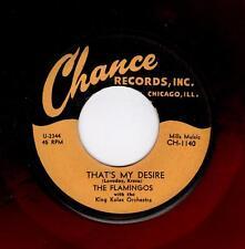 RARE DOOWOP-FLAMINGOS-CHANCE 1140-THAT'S MY DESIRE/HURRY HOME BABY-(RED WAX)