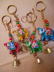 SALE 4x Elephant Keyring Fair trade Gift Home  Accessory Ethical Multi CLEARANCE