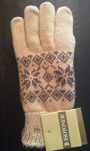 NWT Vintage 2003 Womens ISOTONER Everyday Gloves Suede Palms One Size Camel Tan