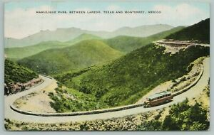 Laredo Texas-Monterrey Mexico~Mamulique Pass~Old Bus on Road~Vintage PC