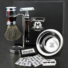Complete Men Shaving Kit Box ! Safety Razor Blade, Bowl, Brush Stand Holder Male