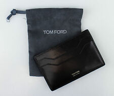 NWT TOM FORD Black Smooth 100% Leather Card Holder Wallet $250