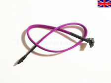New SATA 3 - 6Gbps Purple Braided Cable Sleeved with Locking Connectors UK