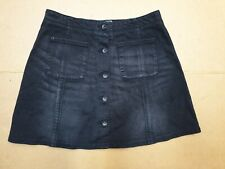 CC406 WOMENS SUPERDRY FADED BLACK STRETCH DENIM BUTTON FRONT SKIRT UK 8 W26