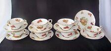 15 Pc Hammersley Porcelain Demitasse Cups & Saucers / Fruit & Nut Motif # 4697