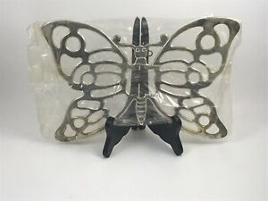 New In Box, Butterfly Silver Plated Trivet By Leonard Silver Co, Made In Italy